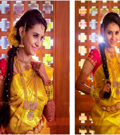 a shining red bridal blouse - with a golden yellow silk bridal saree